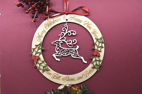 Reindeer personalised Christmas decoration hanger.