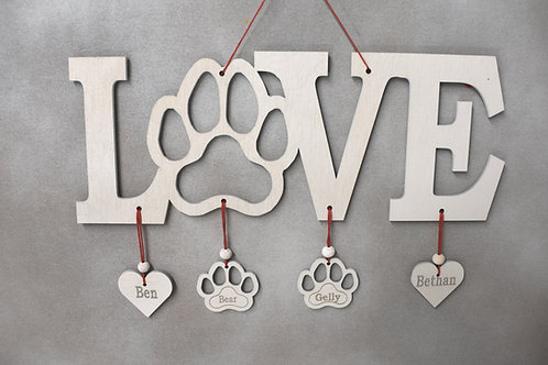 Love paw print sign personalised (long version).