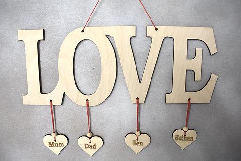 Love word sign (long design.)