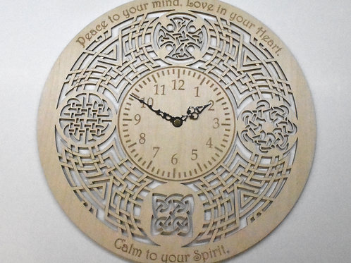 Celtic gripping beast personalised wooden wall clock.