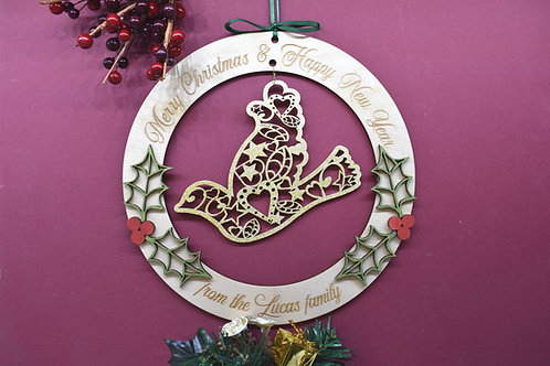 Dove personalised Christmas decoration hanger.