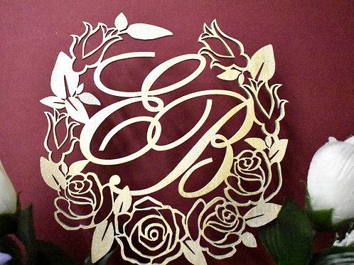 Rose wreath cake topper