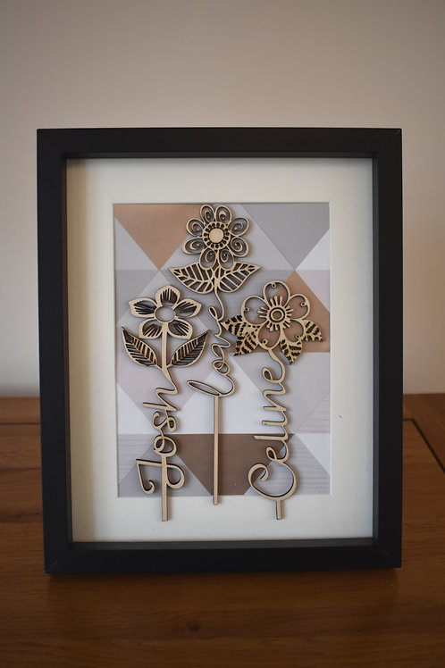 Personalised Flower words picture frame