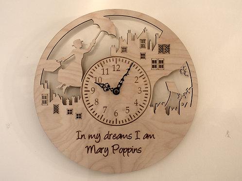 Magic flying Nanny personalised wooden wall clock.