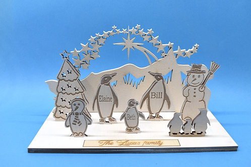 Penguin personalised Christmas decoration.
