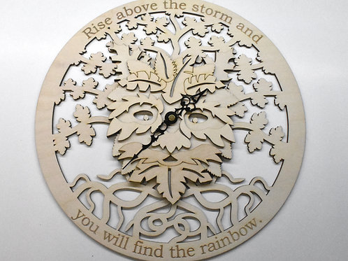 Green Man personalised wooden wall clock.