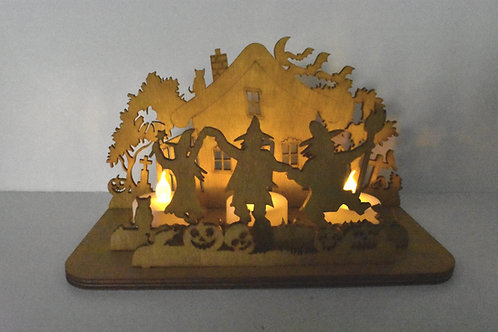 Halloween dancing witches tea light scene