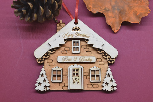 Gingerbread house Christmas tree decoration personalised.