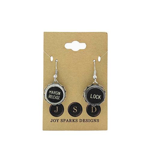 Function Typewriter Key Earrings