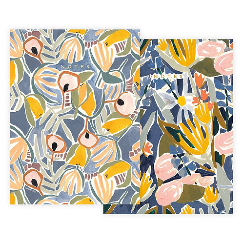 Blue and Yellow Floral Notebook Set
