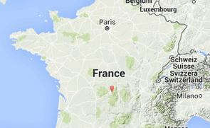 Kaart van de Auvergne in Frankrijk. Clos Saint Sauves ligt aan de rand van het natuurgebied.