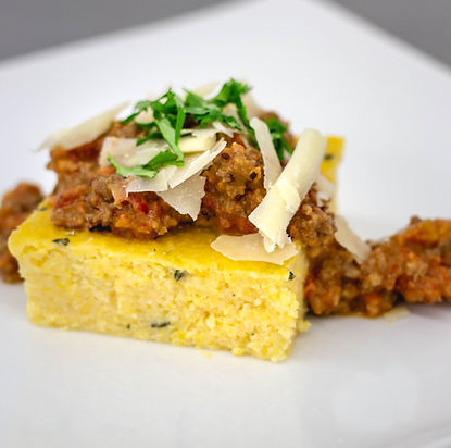 Dinner Plate of Polenta with Ground Beef