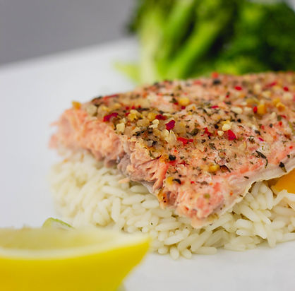 Dinner Plate of Salmon and Rice