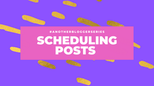 """title image with """"scheduling posts"""" written on, made in canva."""