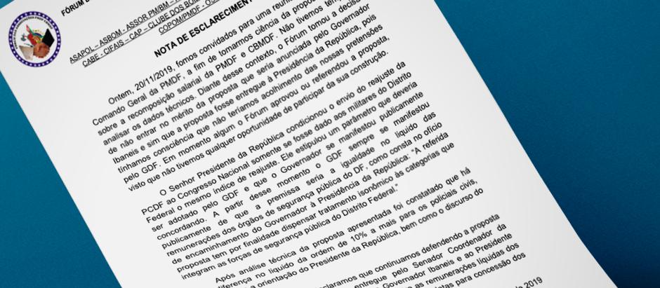 Fórum das Associações Representativas dos PMs e BMs do DF publica nota sobre aumento anunciado