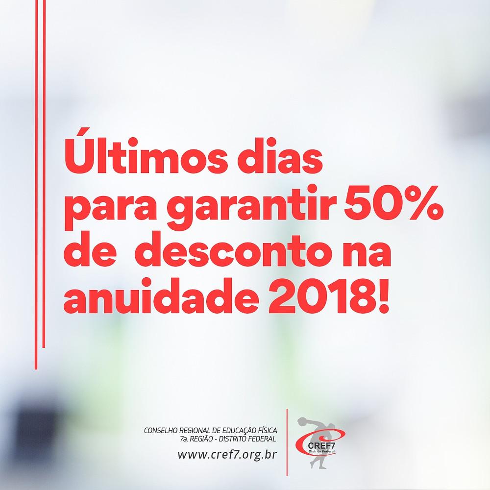 CREF7 50% desconto anuidade 2018