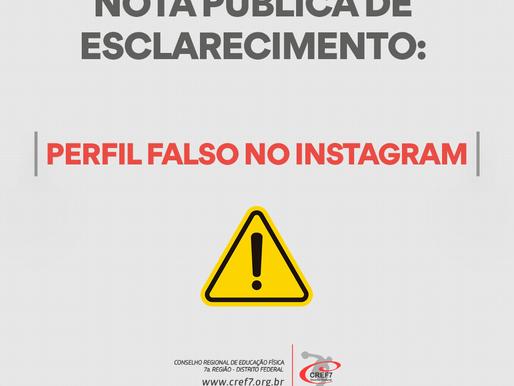 Nota Pública de Esclarecimento: Perfil falso no Instagram