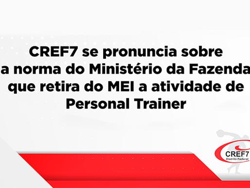 CREF7 se pronuncia sobre a norma do Ministério da Fazenda que retira do MEI a atividade de Personal