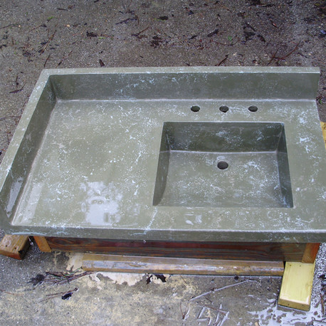 Green Concrete Countertop and sink