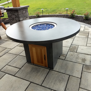 Custom concrete fire pit and base