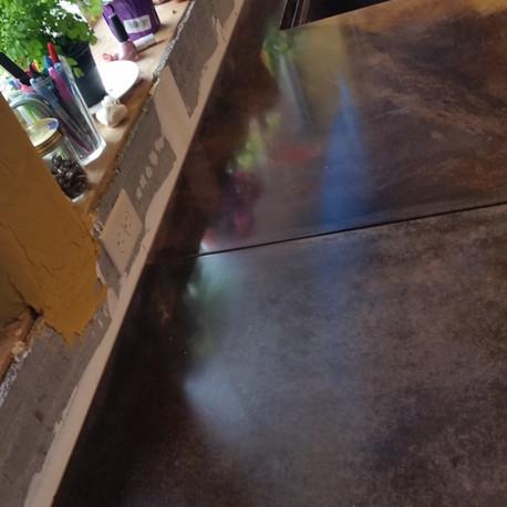 Concrete countertop and backsplash