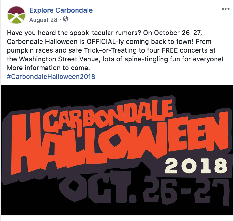 Facebook post for the City of Carbondale's 2018 Halloween celebration.