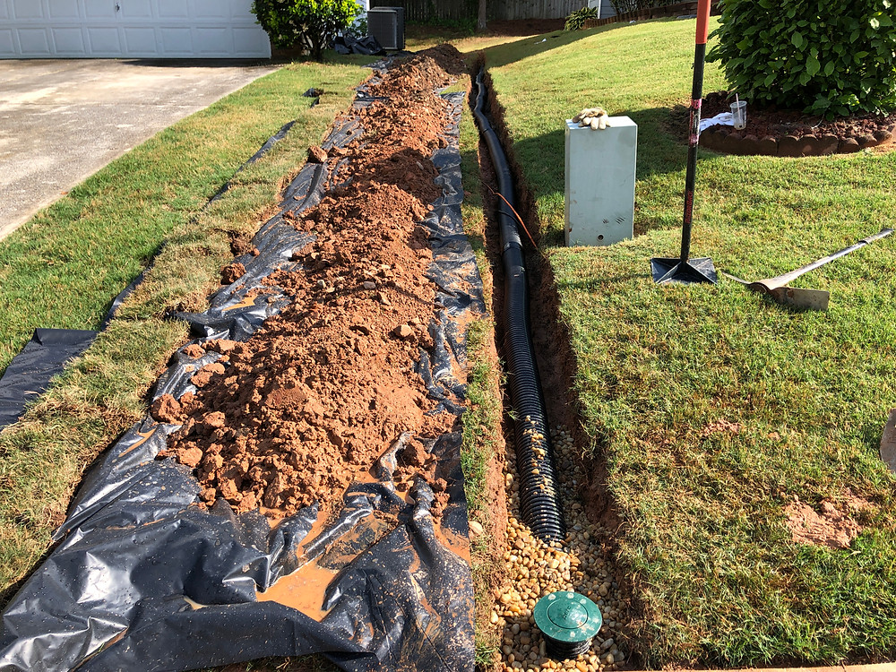 Yard drainage, gutters, downspouts, crawl space