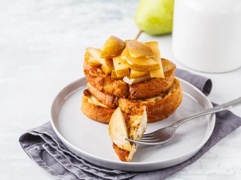 Французские тосты с карамелизированной грушей (vegan)