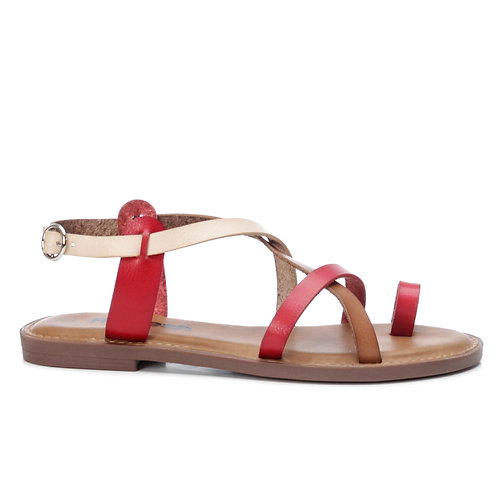 REFRESH Leather Flat Sandals