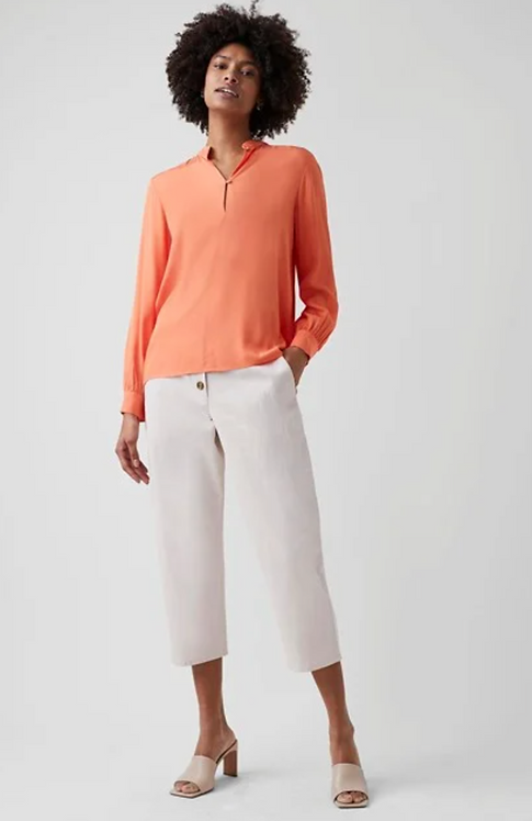 GREAT PLAINS Luxe Crepe Long Sleeve V Neck Blouse