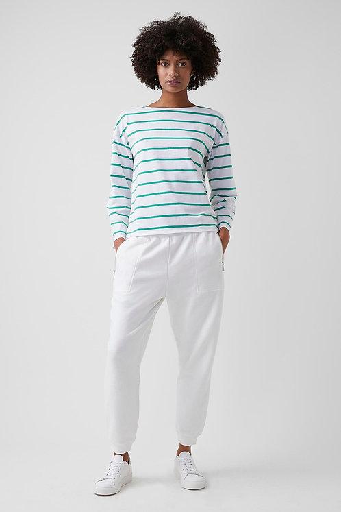 GREAT PLAINS Bobbie Stripe Jersey Long Sleeve Boat Neck Top