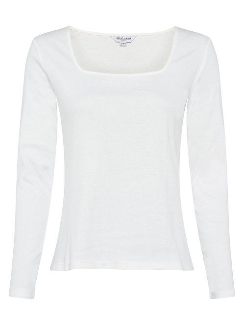 GREAT PLAINS Rib Jersey Long Sleeve Square Neck Top