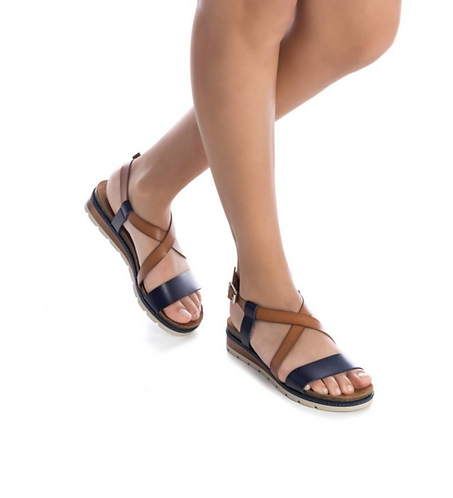 REFRESH Leather Wedge Sandals