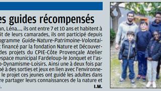 Les Guides nature Juniors de fardeloup sont dans le journal!