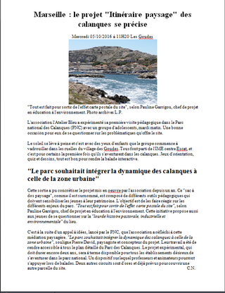 """Un article de La Provence sur le """"Sac à dos paysage"""""""