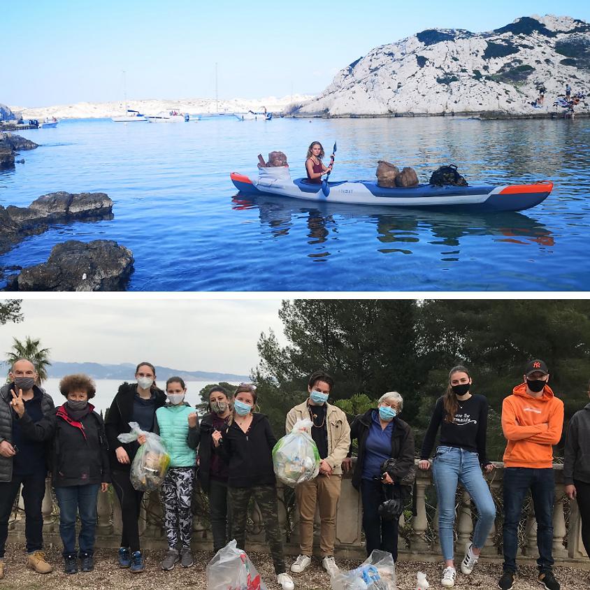 Projet Azur et ramassage des déchets de la calanque du Mugel