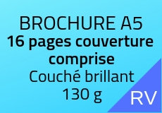 800 Brochures A5. 16 pages couverture comprise. Couché brillant 130 g