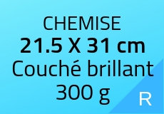 200 Chemises 21.5 X 31 cm. Couché brillant 300 g. Couleur recto
