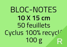 100 Bloc-notes de 50 feuillets 14.8 x 21 cm. Cyclus 100 g. Couleur recto