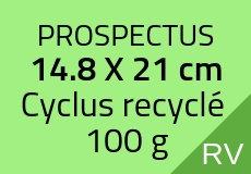 300 Prospectus 14.8 x 21 cm. Cyclus recyclé 100 g. Couleur recto verso