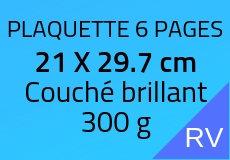 300 Plaquettes 6 pages 21 X 29.7 cm. Couché brillant 300 g. Couleur recto verso