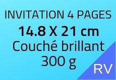100 Invitations 4 pages 14.8 X 21 cm. Couché brillant 300 g. Couleur recto verso