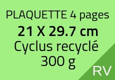 300 Plaquettes 4 pages 21 X 29.7 cm. Cyclus 300 g. Couleur recto verso