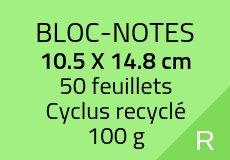 100 Bloc-notes de 50 feuillets 10.5 x 14.8 cm. Cyclus 100 g. Couleur recto