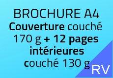 1000 Brochures A4. Couverture couché 170 g+12 pages intérieures couché 130 g