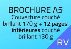 1000 Brochures A5. Couché brillant. Couverture 170 g+12 pages intérieures