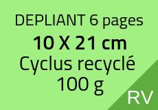 4000 Dépliants 6 pages 10 X 21 cm. Cyclus recyclé 100 g. Couleur recto verso