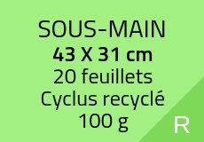 200 Sous-mains 20 feuillets. Cyclus recyclé 100 g. Couleur recto