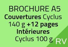 500 Brochures A5. Cyclus recyclé. Couverture 140 g+12 pages intérieures
