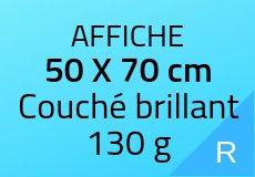500 Affiches 50 X 70 cm. Couché brillant 130 g. Couleur recto